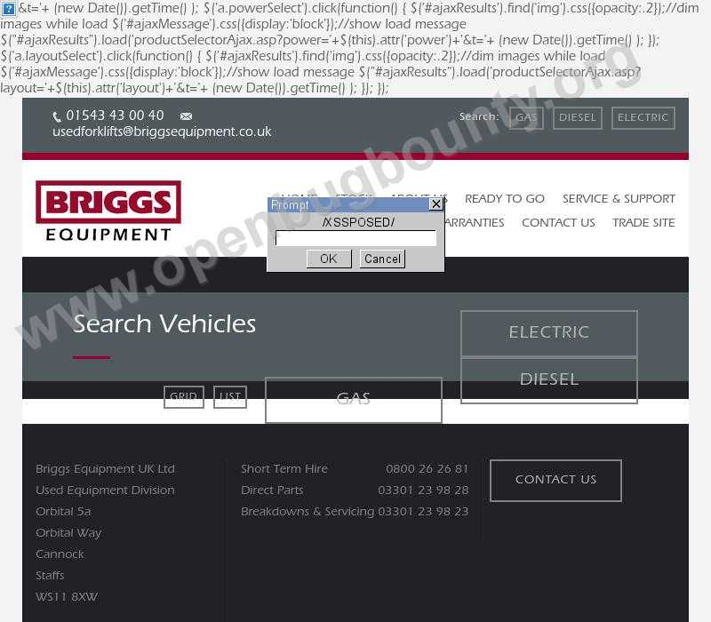 briggsusedforklifts.co.uk  vulnerability